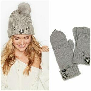NWT VS sparkle pom-pom hat & gloves set gray